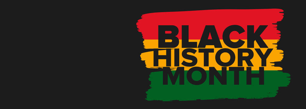 Black history month text over red, yellow and green stripes