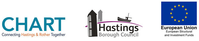 Chart logo, Hastings Borough COuncil logo, European Union logo