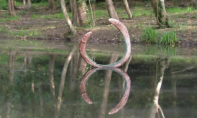 Art installation in lower pond at Summerfields Wood
