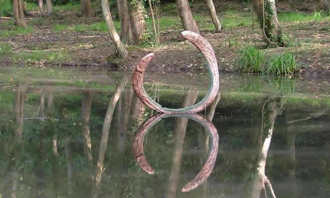 Art installation in lower pond at Summerfields Wood