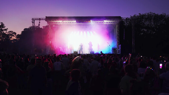 Photo of stage at sunset