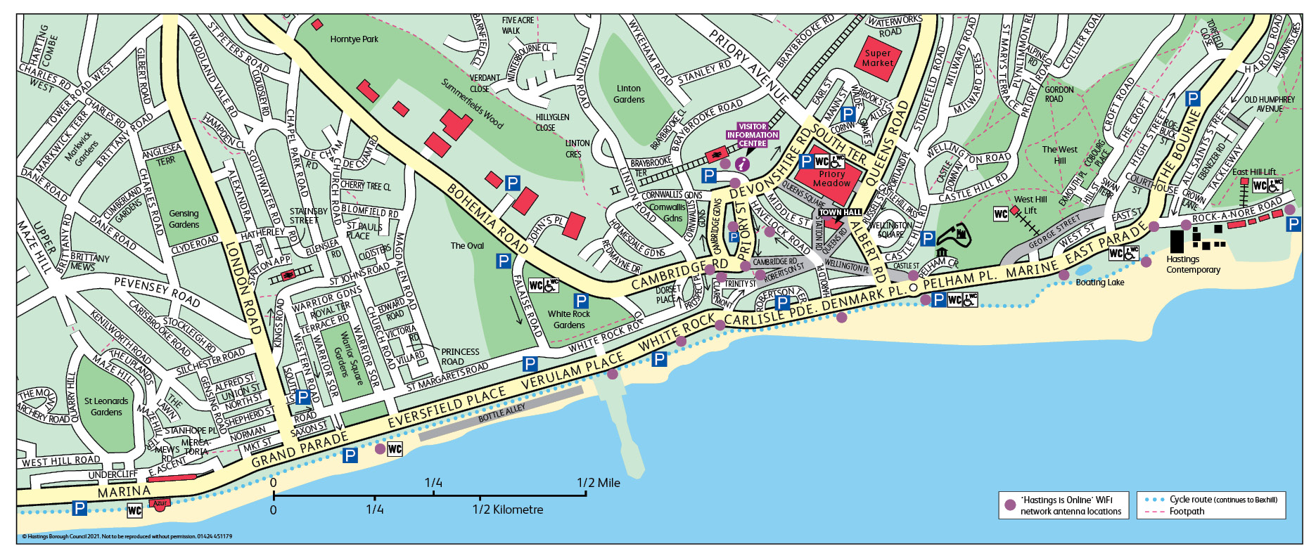 Map showing the positions of the Wi-Fi transmitters that are situated along the Hastings seafront.