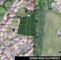 Downs Road Allotments aerial view