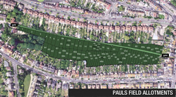 Pauls Field Allotments aerial view