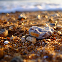 close up photograph of beach stones