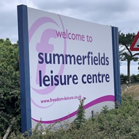 Freedom Leisure sign outside Summerfields
