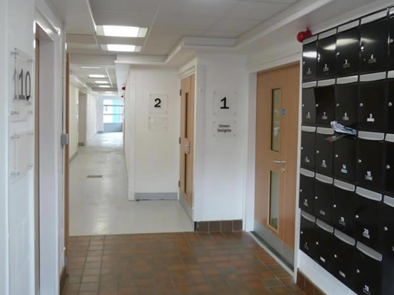 Castleham Business Centre West - Post lockers and corridor to offices