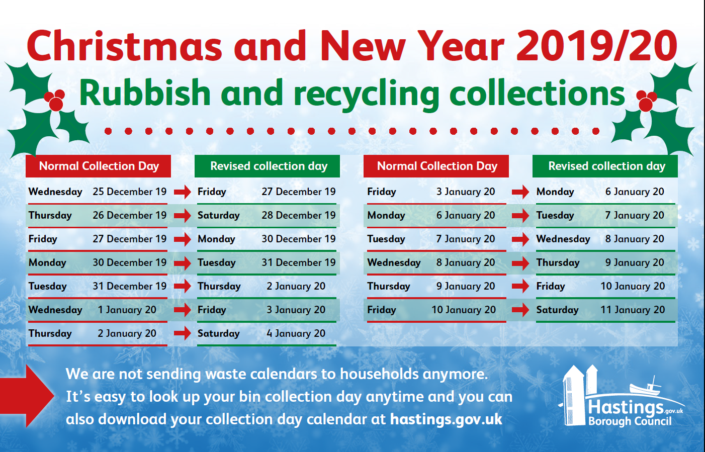 Find out about changes to rubbish and recycling collections over Christmas and new year